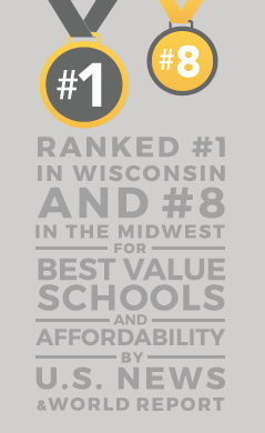 Ranked #1 in wisconsin and #8 in the midwest for best value schools and affordability