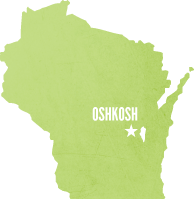 Wisconsin Map with Oshkosh
