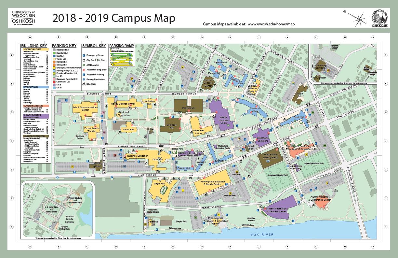 map of uwo campus Campus Map Department Of Art University Of Wisconsin Oshkosh map of uwo campus