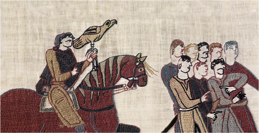 Falconer with men