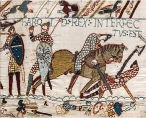Image of the death of Harold at Hastings on the Bayeux Tapestry