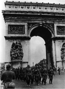 German soldiers marching in Paris during World War II (two)