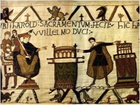 Image of the oath between Harold and William on the Bayeux Tapestry