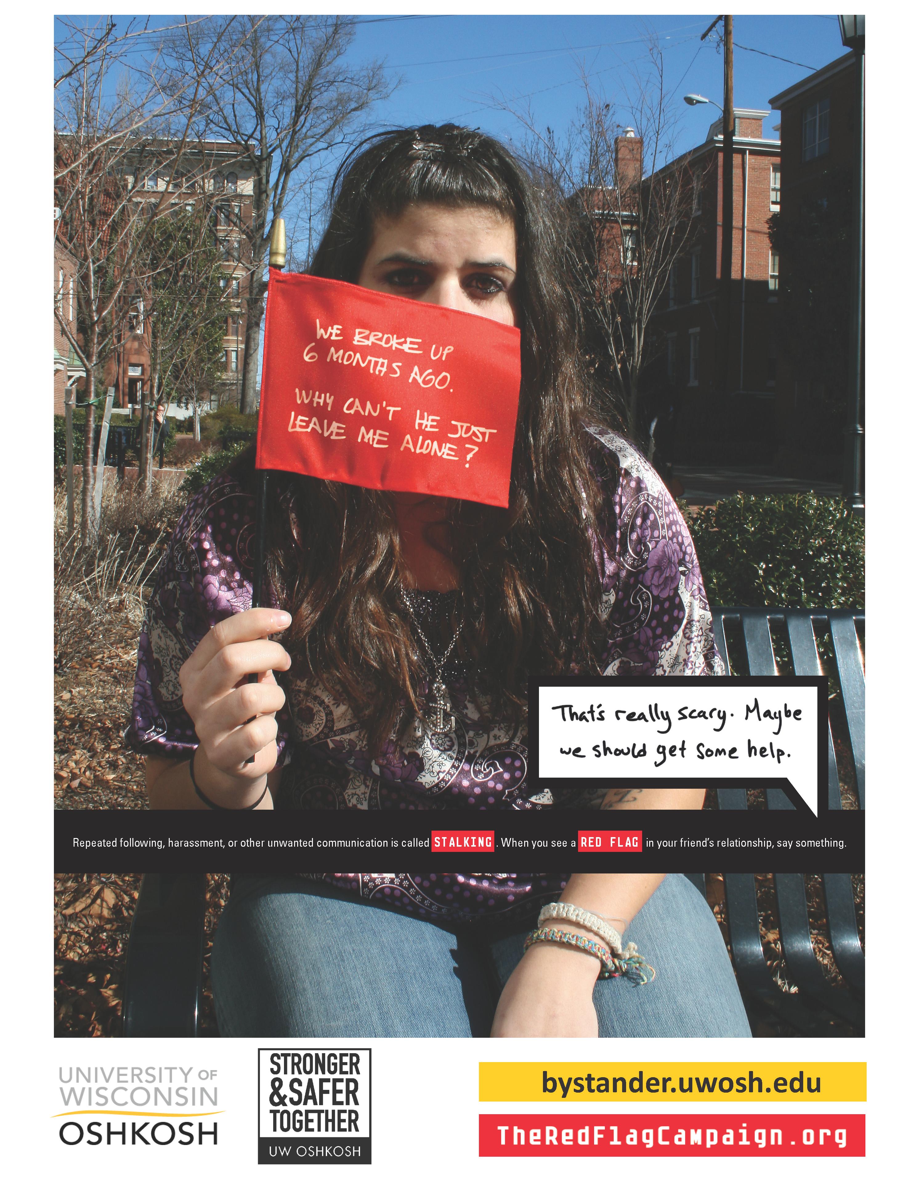 Stalking-Victim-Red Flag Campaign Poster
