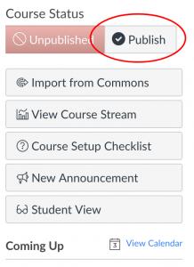 Publish your course button