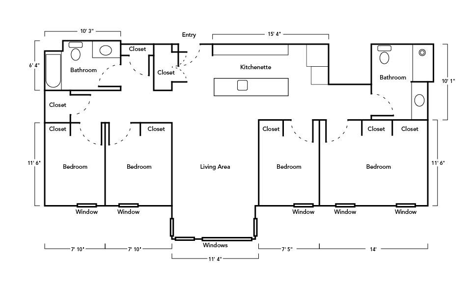 4 Bedroom ADA Suite layout