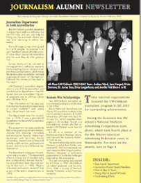 Screenshot of the 2003 Alumni Newsletter