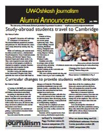Screenshot of the 2006 Alumni Newsletter