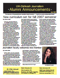 Screenshot of the 2007 Alumni Newsletter