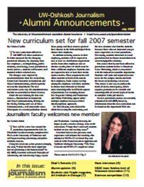 Screenshot of the 2007 Alumni Newsletter