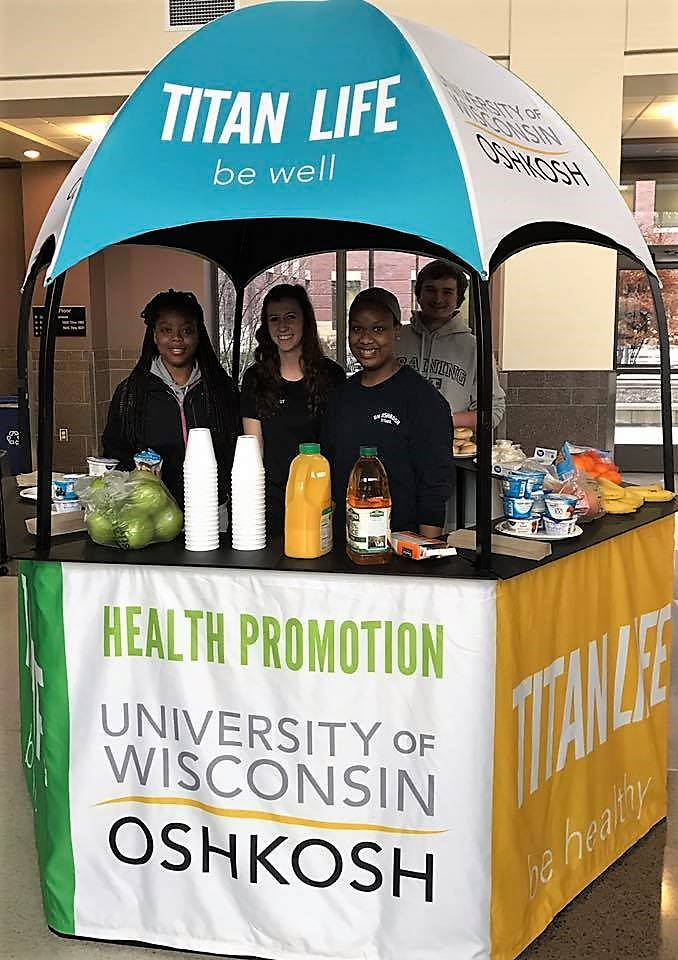 healthy breakfast snack stand lead by peer health advocates