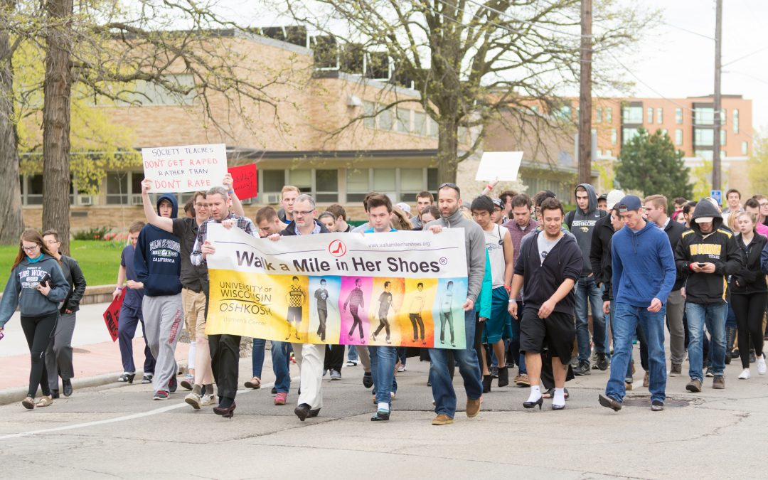 Statement footwear part of Walk a Mile in Her Shoes event at UW Oshkosh