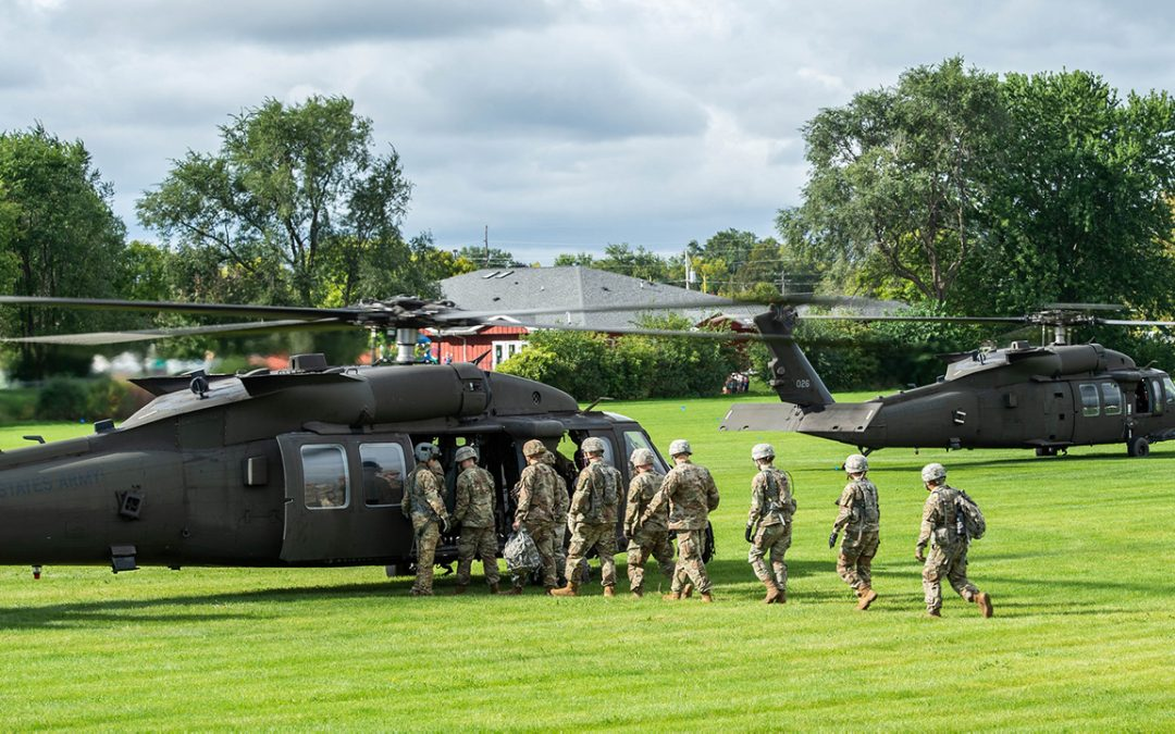 Trio of Black Hawks stop at UWO on way to Fort McCoy training