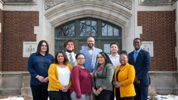 Back row, left to right: Mia Wilson, Dominick Books, African American Studies program director Alphonso Simpson, Justin Smith and Alexander Paasewe. Front row, left to right: Janaya Godfrey, Arianna Boatner, Ahveon Smith and Joy Evans.