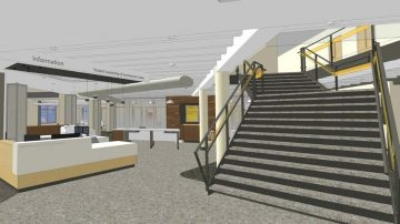 Reeve renovations rendering featuring the new Student Leadership and Involvement Center