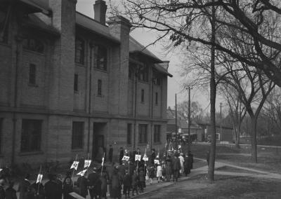 1921: Students celebrate 50 years of UW Oshkosh during the 1921 homecoming festivities.