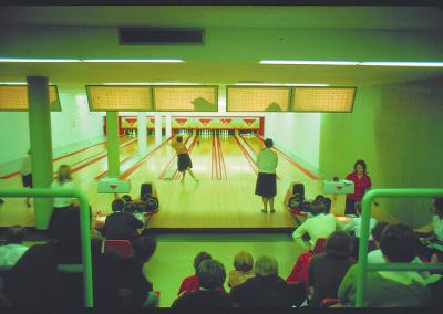 Students enjoyed a bowling alley in the basement of Reeve Union.