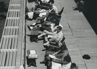 1961: Students catch some rays on the patio at Reeve Union.