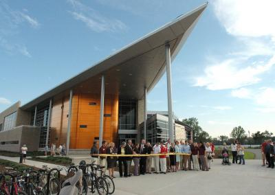 2007: The ribbon is cut on the new Student Rec and Wellness Center.