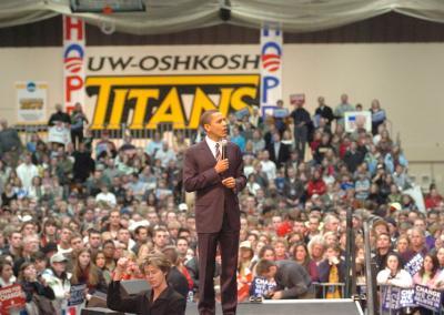 U.S. Senator Barack Obama visits UW Oshkosh while campaigning for his first term as President.