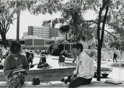 Students chat outside Reeve Union in the 1960's.