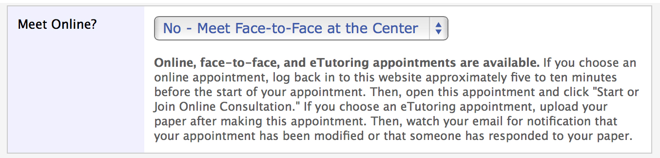 Face-to-Face Appointment