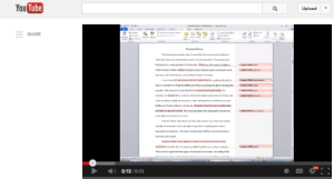 Screenshot of recorded YouTube feedback for eTutoring.